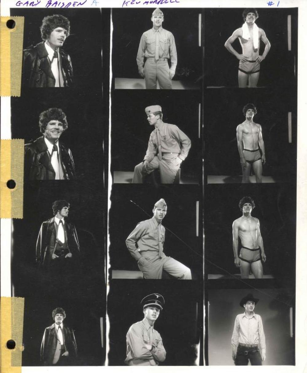 Mizer's black and white contact sheet, c. 1975.