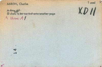 Master List Model Index Card for Charles Aaron